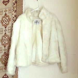 Vintage White Vegan FAUX Fur Coat Made In USA